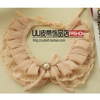 Pink pearl false collar all-match lace collar necklace fashion false collar