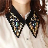 Peacock gem crystal false collar necklace female vintage lace collar decoration peter pan collar