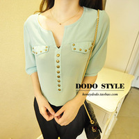 2013 fashion rivet V-neck half sleeve chiffon shirt black white green blouse  for women