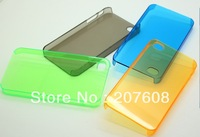 500pcs/lot colorful Hard Plastic clear crystal transparent back cover case for iphone 4S
