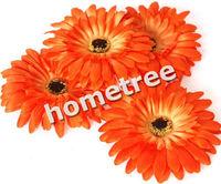 "Orange 12pcs 4"" craft silk flowers heads gerbera daisy wedding birthday party home garden decorations free shipping"