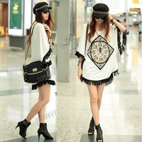 2013 Korean Women's Fringed Hem Loose Long Batwing Shirt Fashion Tops free shipping xc-76