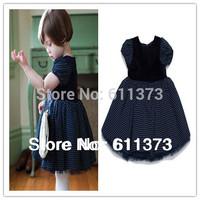 girls dark bule dress, cut dot style