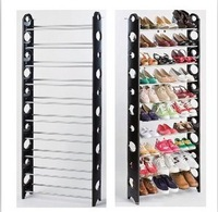 Black shoe rack,10 layer with metal and plastic meterial