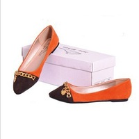 Peach heart cowhide flat shoes, shoes color matching character of leather shoes