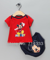 2013 Summer New Baby clothing sets boys clothes suits mikey  mouse t shirts+pants free shipping