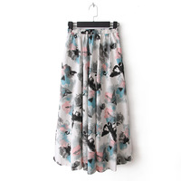 2013 new women's national wind bohemian floral the bust skirt pocket cotton beach long skirt 24 colors