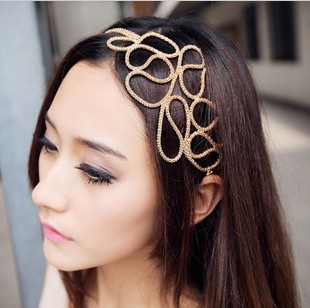 FREE SHIPPING!!! 8504 Korean version of the new wholesale jewelry design Openwork chain metal hair to take the lead in the hoop