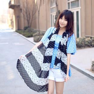 Big dot black and white stripe chiffon female scarf silk scarf cape Y91W18