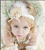 Beautiful baby female child rhinestone fashion hair band hair accessory feather