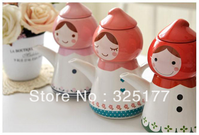 Tea for one Peach head Little red riding hood Teapot Water bottle Cup Creative Birthday gift 4 colors Novelty item(China (Mainland))