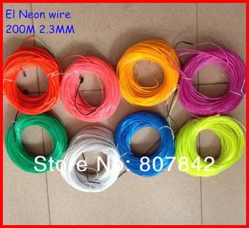D2.3MM 200M Lemon/Red/Yellow/Green/White/Blue/Purple/Pink optional  EL Flexible Neon Light EL Wire Rope EL cable flashing light