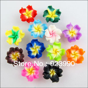Free Shipping 18Pcs Mixed Polymer Fimo Clay Beautiful Flower Spacer Beads 15mm For Jewelry Making Craft DIY(China (Mainland))