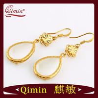 Free Shipping Fashion Design 24K Gold Filled Opal Water Drop Earrings+Opp Packing,Fashion Jewelry Drop Earrings