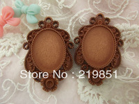 Wholesale DIY accessory (brown color) inner 18*25mm flat back cameos flower resin cabochon base jewelry findings SZ90
