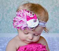 Free shipping 2013 new baby headband baby white diamond rhinestone feather headband elastic photograh Toddler headwear Hairband