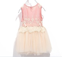 2013 new summer lacey dress girl's lace dress baby lovely dress fashion kid's flower lace dress(4pcs/lot)Free Shipping