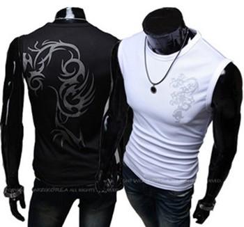2013 FREE Shipping Men's Sleeveless T-shirt Fashion Slim Fit Printing Casual Shirts Summer Eyelet Fabric Vest,2 color,M,L,XL,XXL