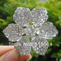 Free Shipping ! Crystal  Flower Rhinestone Brooch With Flatback .Price Negotiable for Large Order