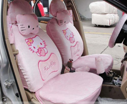 Hello Kitty-18pcs Pink car cushion Car Steering Wheel Front Rear Seat Saddle Covers-Shipping by EMS(China (Mainland))