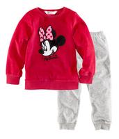 Wholesale! Free shipping 6 sets/lot girl's comfortable Minnie homewear & pajamas, rose long sleeve shirt + long grey trousers