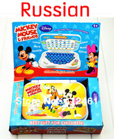 1pcs Mickey Mouse  Russian Kid learning machine enlighten tablets study laptop Free shipping