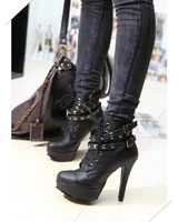 Sexy Woman's Black Lace UP Ankle Boots PU Leather High Heel Platform Pump Shoes Free Shipping