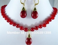 wholesale  Rare 8mm RED RUBY Necklace & Earring Set 18'' Fashion jewelry