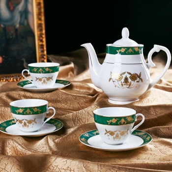 golden decoration 13pc tea set with 6pc cup 6pc saucer and 1pc teapot, gift tea set, cup set ,coffee set