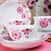 purple flower 20pc  ceramic tableware peony red 20n pc porcelain  tableware set, new bone china dinner set