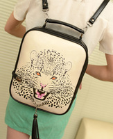 Free shipping Spring and summer women's handbag brief leopard head casual vintage bag double-shoulder double backpack handbag