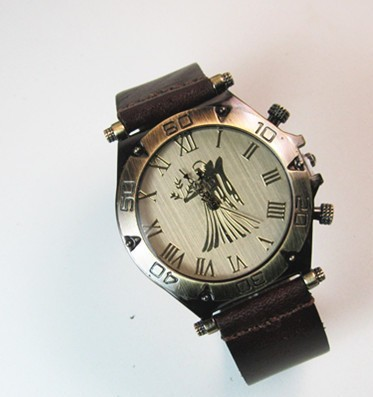 Sales promotion!New Arrival Punk The angel pattern Watches,Top quality Alloy Stainless steel Real Leather Unisex Watches(China (Mainland))