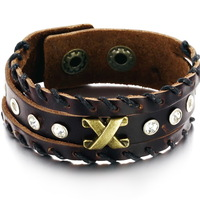 2013 New punk luxury Genuine cow leather vintage charm bracelet with crystal men women fashion jewelry High quality