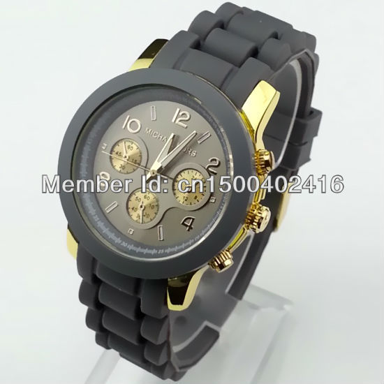 2013 hot sale silicone wrist watch Fashion&Casual watch for young people 13colors-grey Free shippng(China (Mainland))