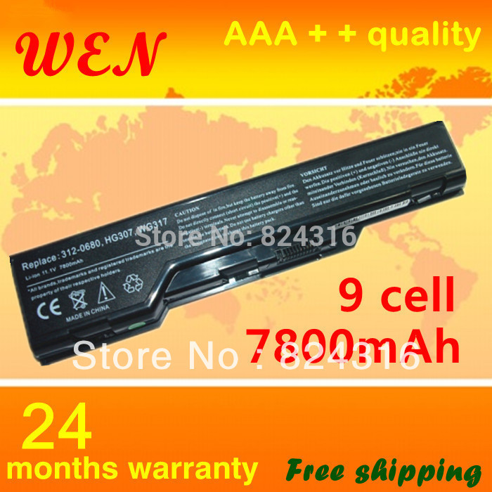 New 7800mAh laptop battery for Dell XPS M1730 1730 Series HG307 XG510 0XG510 WG317 312-0680(China (Mainland))