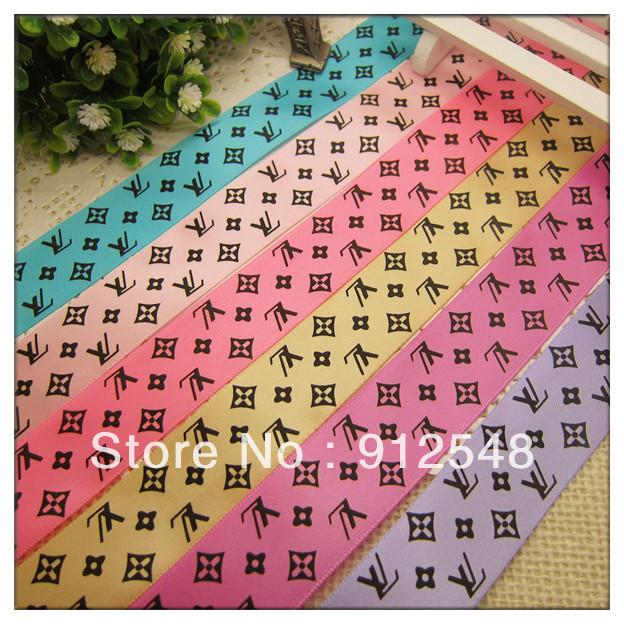 """Free Shipping 10 yard 1"""" 25mm brand LOGO printed ribbon silk ribbon,6 color mix,lvdd007(China (Mainland))"""