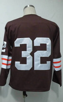 #32 Jim Brown Men's Authentic 1964 Team Coffee Long Full Sleeve Throwback Football Jersey