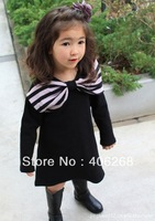 wholesale best quality fashion spring big Bow girl's dress solid color girl's dress    2013 new free shipping