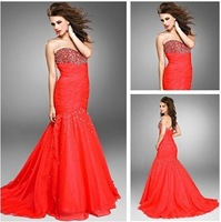 Free Shipping New Popular Watermelon Color Organza Sweetheart Mermaid Sequined Evening Dress Custom Size Wholesale/Retail