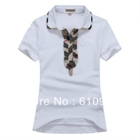 Free shipping 2013 New Arrive Women Fashion Bland Short Sleeve T Shirt With Ruffles White Black #THJ 10