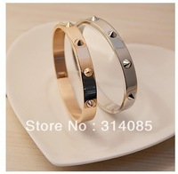 Min.order is $15 (mix order) Gold Plating Titanium Steel Love Friendship Screw Bangle Bracelet without Diamond for Men or Women