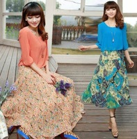 2013 New Summer Women Dress Fake two-piece Chiffon Dress Bohemian Dress Sleeve Floral Skirt 1 piece  Free Shipping