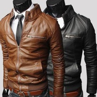 2013 Men's New Fashion cross zipper short paragraph Slim balck/bown turn-down collar leather jacket Free shipping