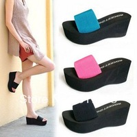 FREE SHIPPING!!! 2013 Summer the female Shisong cake sandals models slope with the word drag heavy - bottomed slippers