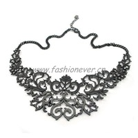 New Metal Retro Gothic Vintage Flower Hollow Out  Women Party Statement Necklace Free Shipping