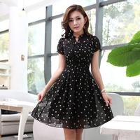2013 summer one-piece dress plus size dot slim short-sleeve skirt gentlewomen short-sleeve chiffon one-piece dress