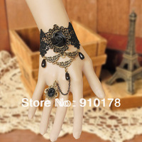 handwork gothic party jewelry sexy black rose lace charm bracelet bangle fashion handchain WS--103
