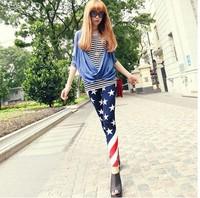 Wholesale!Free Shipping Popular Slim Elasticity USA American Flag the Stars and fashion Stripes Leggings
