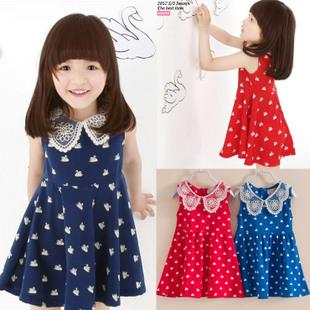 Children's clothing summer female child one-piece dress tank dress little swan print baby 100% cotton sleeveless dress kk043