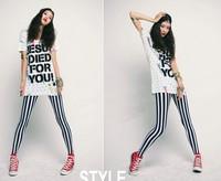 Free Shipping Retail Korean Design Fashion Lady Sexy Black & White Zebra Vertical Stripes Leggings Trousers